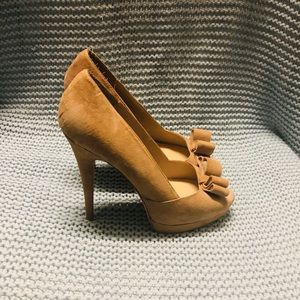 Brand new tan suede peep toes